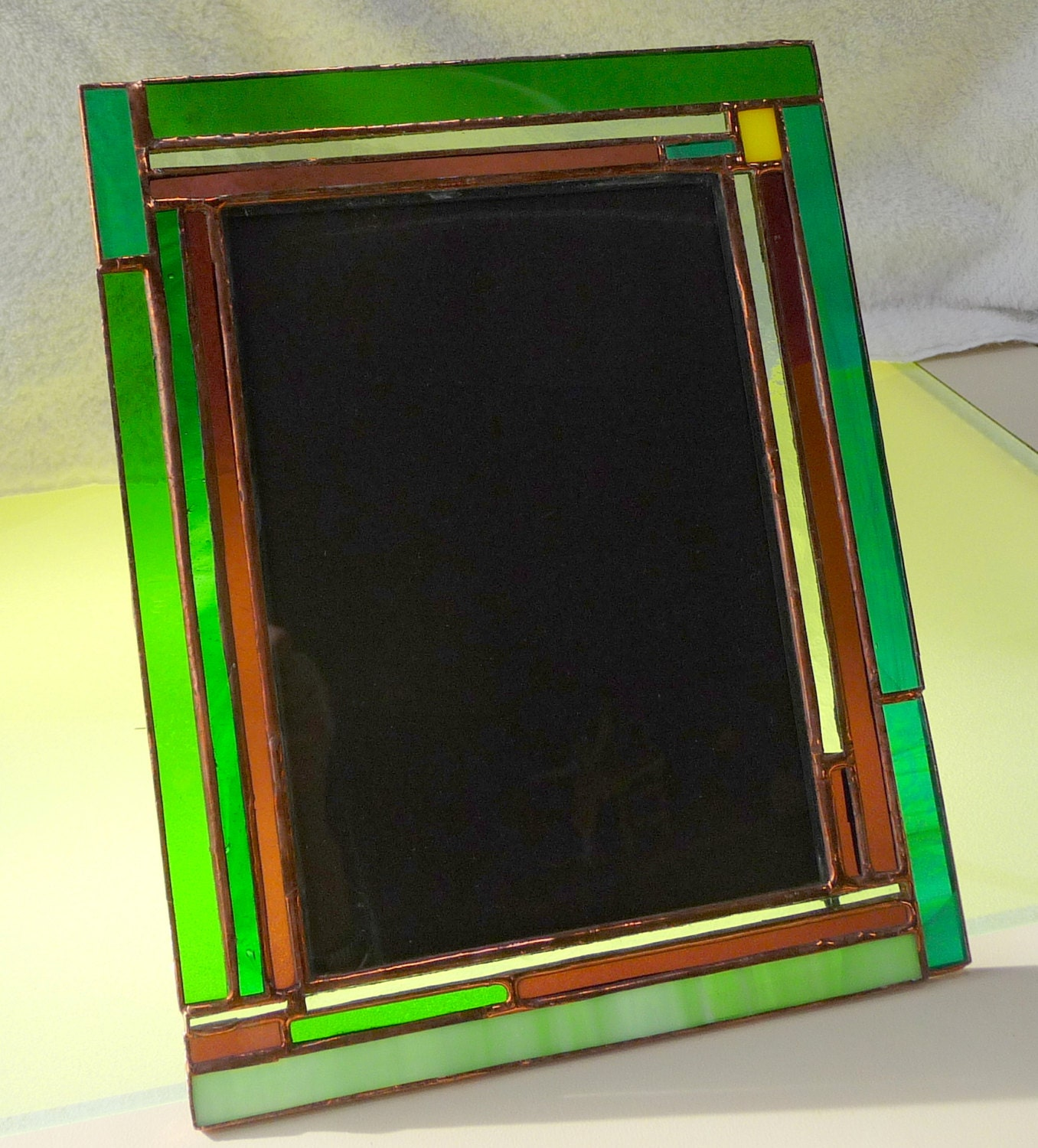 Stained Glass Picture Frame Greens Purple Picture Frame 5 X 7