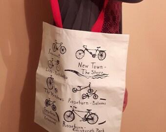 Edinburgh City Cycle Paths Tote bag - Screenprinted Tote of Edinburgh cyclepaths