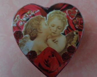 """Raphael """"Kissing Angels"""" Collage Trinket Box by Pepperland"""
