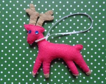 Pink Handmade Reindeer Ornament by Pepperland