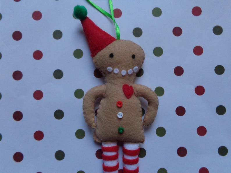 Jeremy The Gingerbread Man Felt Christmas Ornament by Pepperland
