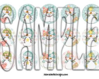 Let It Snow Digital Bottle Cap Images