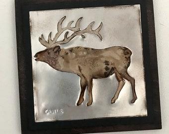 Recycled Soda Pop Can Elk, Bull Elk Western Wildlife Art Tile