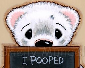 Ferret Notes - Silver Black Nosed Handsome Manfert - Poop Humor -Ferret Art Print - by Shelly Mundel