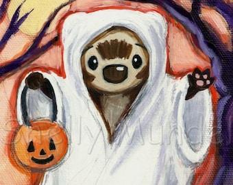 Halloween Ferret Spooky Ghost- Ferret Art Print - by Shelly Mundel