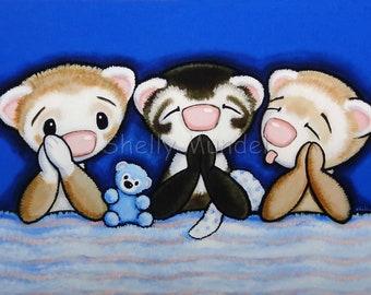 Praying Ferrets - Ferret Art Print - by Shelly Mundel