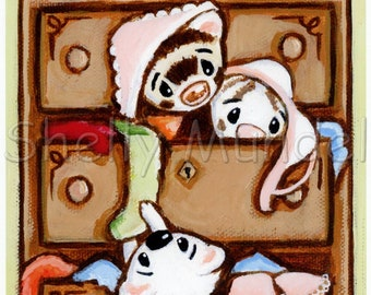 Weasels in My Drawers 2- Ferret Art Print from Original Painting - by Shelly Mundel
