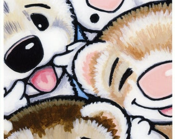 Ferret Faces - Ferret Art Print from Original Painting - by Shelly Mundel