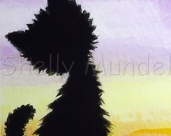 Black Cat Sunset - Cat Art Print - by Shelly Mundel