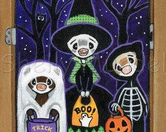 Halloween Trick or Treat- Ferret Art Print - by Shelly Mundel