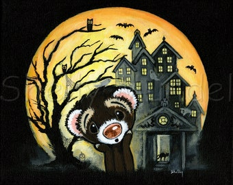 Halloween Scary Haunted House Moon - Ferret Art Print - by Shelly Mundel