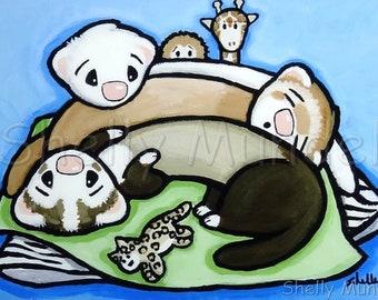 Weasel Pile - Ferret Art Print - by Shelly Mundel