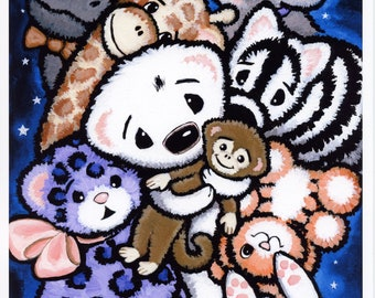 Ferret and Fuzzy Stuffies Art Print - From Original Art - by Shelly Mundel