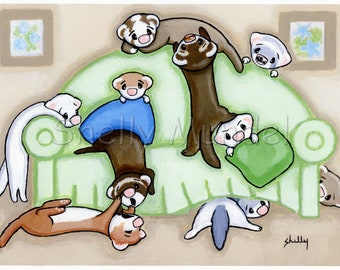 Couch Potatoes - Ferret Art Print - by Shelly Mundel