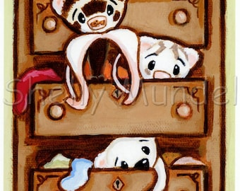Weasels in My Drawers 1- Ferret Art Print from Original Painting - by Shelly Mundel