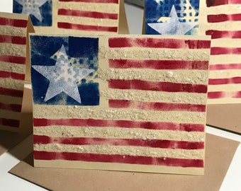 Americana Card Set of 3 Keep in Touch with Friends Vintage Style Patriotic Cards Blank Assortment of Greeting Cards FLAG3