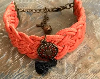 Handmade Bracelet, Bracelet, Fashion, Womens Bracelet, Jewelry, Woven Bracelet, Woven, Orange Bracelet, Gift For Her, Handmade Jewelry