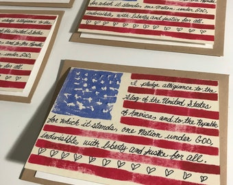 Patriotic Note Cards, Flag Note Cards, America Note Cards, Freedom, Note Card Set, American Flag Note Cards, pledge of Allegiance, Handmade