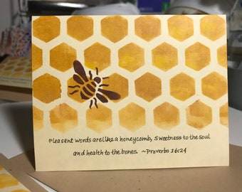 Honey Comb Note Cards, Scripture Note Cards, Bee Lovers, Hand Painted Cards, Stationery Cards, Animal Lovers, Gift, Proverbs 16 24, animals