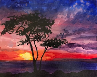 Sunset Painting, Landscape Painting, Nature Painting, Home Decor, Original Painting, Art Lovers, Art Collectors, Water Painting, Vibrant Art