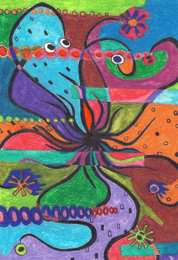Oiginal Abstract Art Abstract Flower Art Colored Pencil Drawing Colorful Art Happy Art Small Abstract Painting Design Art