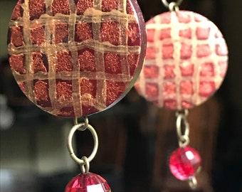 Handmade Painted Earrings, Handmade Earrings, Painted Earrings, Dangled Earrings, Red Earrings, Her Gift, Unique Jewelry