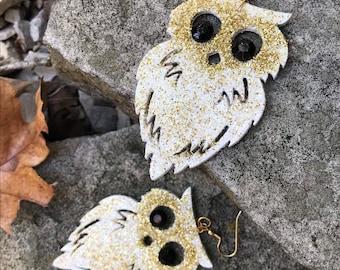 Owl Earrings, Long Earrings, Animal Earrings, One of a Kind Earrings, One of a Kind Jewelry, Whimsical Earrings, Unusual Earrings, Bling