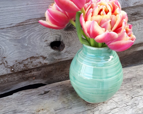 Pottery vase in azure porcelain just in time for Spring ready to ship under 20 turquoise, aquamarine