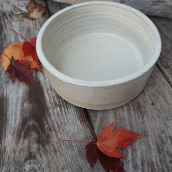 Pottery handmade  bowl casserole holds  3 cups white ivory raw base dinnerware food safe home decor modern clean simple