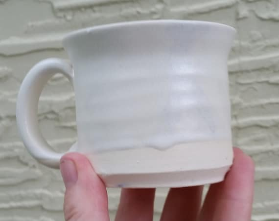 Pottery mug in white minimalist urban modern handmade for coffee