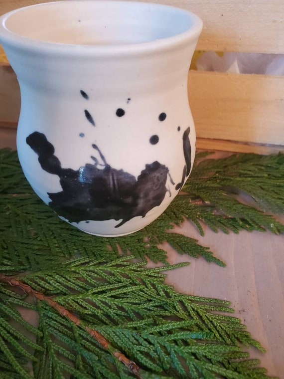 Pottery wine tumblers in black and white splash with thumb dent drinkware