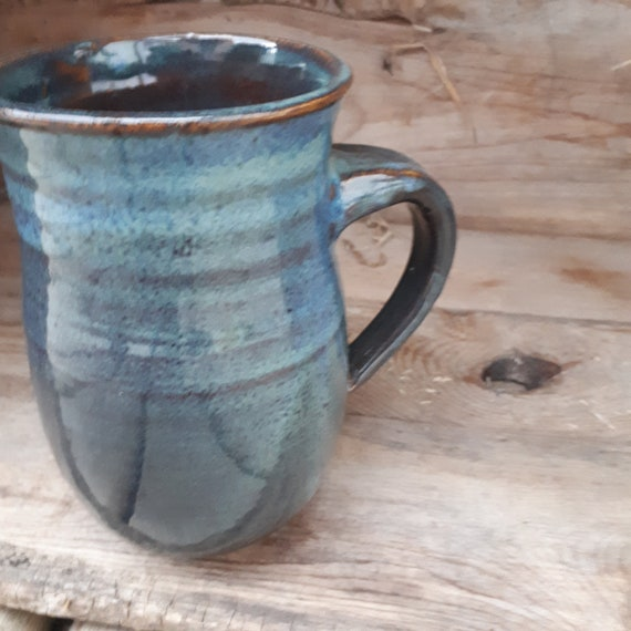 Pottery  mug in  dark blue large to fit your hand 6 inches high home decor simple tableware