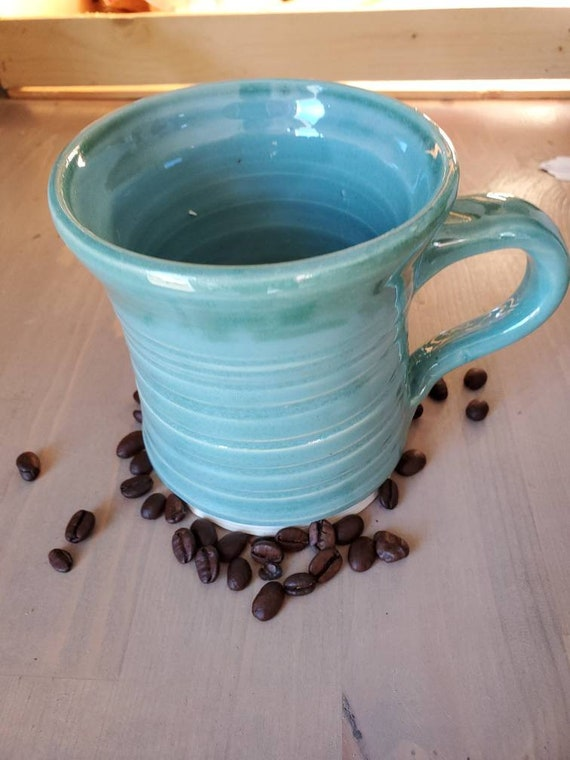 Pottery handmade blue large mug for coffee, tea,  home decor modern clean design foodsafe pottery holds 10 ounces