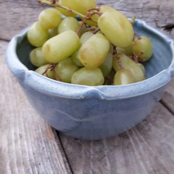 Pottery Soft Blue Bowl with altered edgesimple  6 inches tall 6 inches across perfect fruit or cereal  bowl housewarming gift