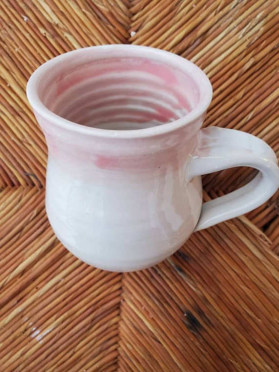 Pottery handmade pink and white  mug for coffee, tea,  home decor modern clean design foodsafe pottery