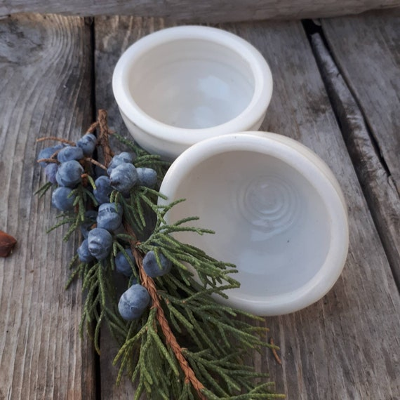 Pottery Bowls snowy white set of two spice or salt bowls  perfect for sauces, salsa wedding gift. Foodie gift modern home decor