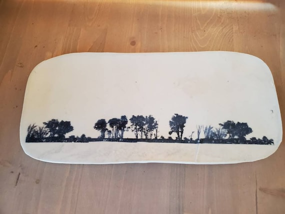 Pottery rural landscape forest serving tray black and white 13inches long