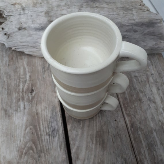 Pottery handmade white mug for coffee, tea, shaving or soup home decor modern clean design foodsafe pottery