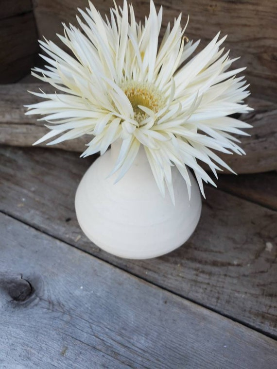Pottery Vase in white three inches high bud vase modern pottery, white vase, flower vase, home decor, grad gift