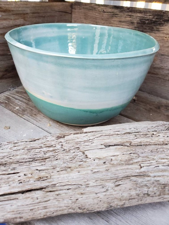 Pottery handmade bowl  4cups blue and turquoise food safe home decor ocean inspired