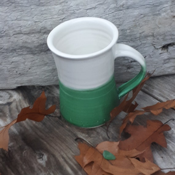 Pottery Coffee Mug in White and Caribbean green, beach glass green, azure, holds 10 ounces home decor under 25