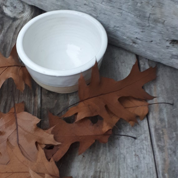 Pottery Bowl white cereal or soup modern simple bowl holds 10 ounces unglazed base  home decor