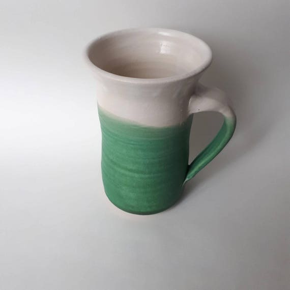 Pottery handmade coffee mug in white and green tall cylindrical cup