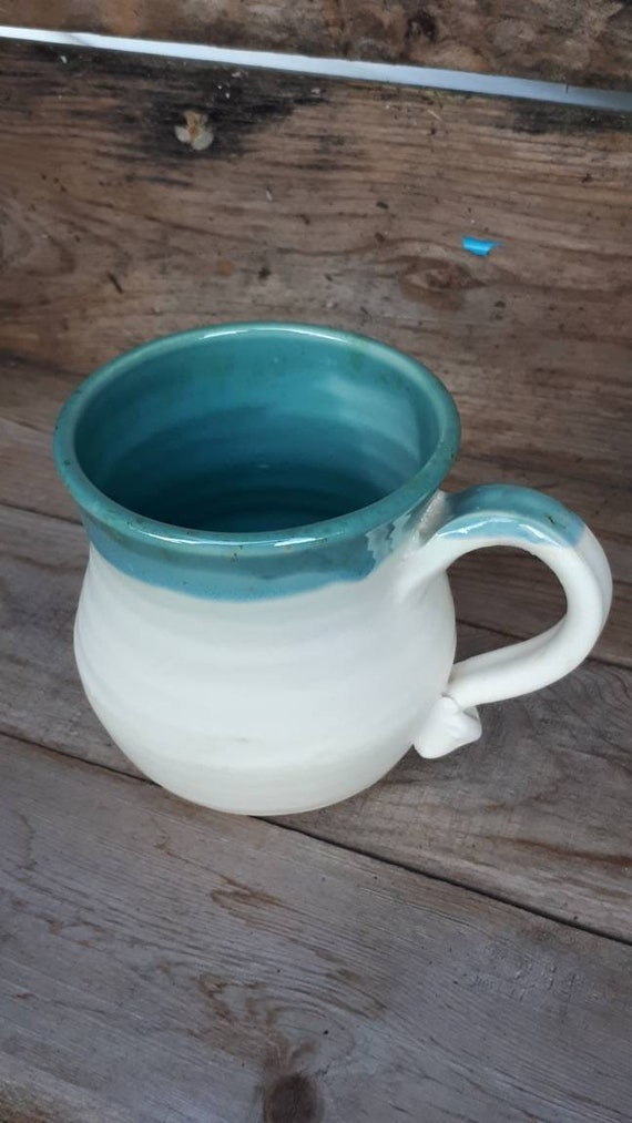 Pottery handmade blue and white  mug for coffee, tea, turquoise  home decor modern clean design foodsafe pottery