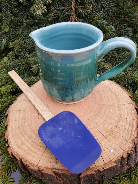 Pottery  Batter Bowl or gravy boat  in turquoise and blue Kitchen decor Wedding gift mothers Da