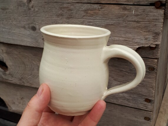 Pottery coffee mug holds 8 ounces in white modern clean neutral home decor ready to ship