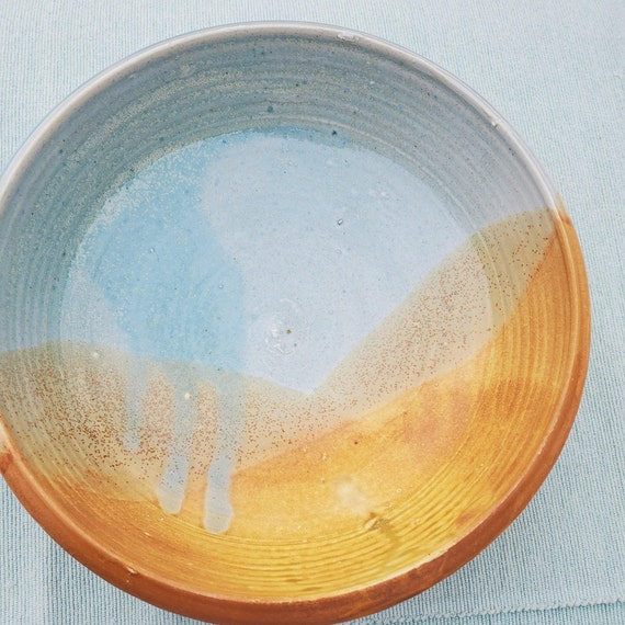 Pottery bowl blue and gold large fruit bowl salad bowl kitchen decor large  holds 3 cups
