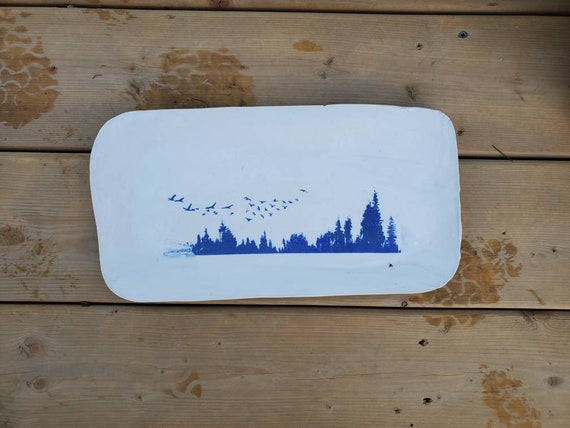 Pottery rural landscape forest serving tray blue  and white 13inches long charcuterie bread tray wedding gift