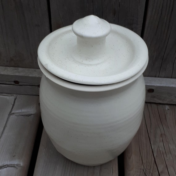 Pottery Cookie Jar with lid, modern simple design in country kitchen white Father's Day Ready to Ship