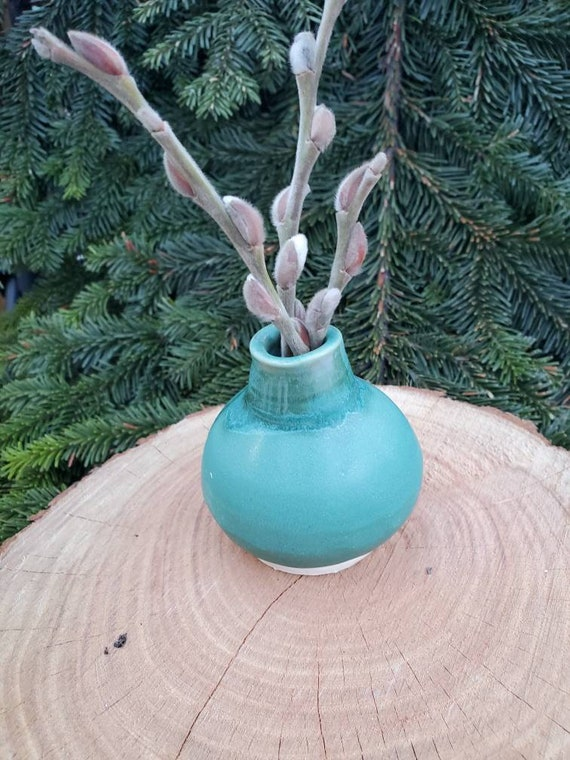 Pottery vase in fresh minimalist turquoise azure  tiny bud vase 3 inches tall perfect mothers day gift home decor